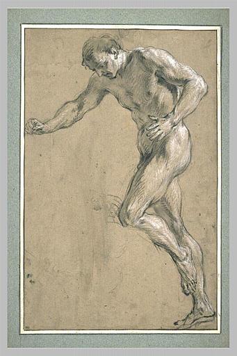 LEMOYNE François : Homme nu, debout, tourné vers la gauche et regardant à terre