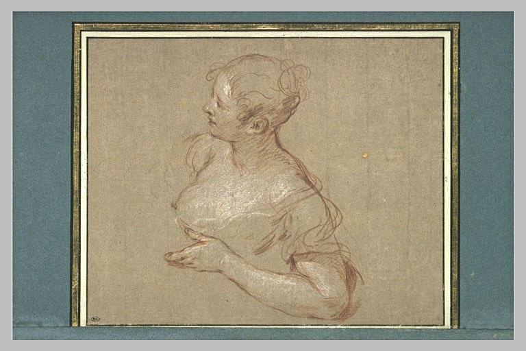 Buste de femme, de profil vers la gauche