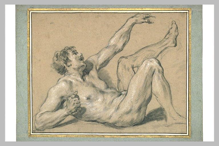 LEMOYNE François : Homme nu, renversé à terre, sur le dos et regardant vers le ciel