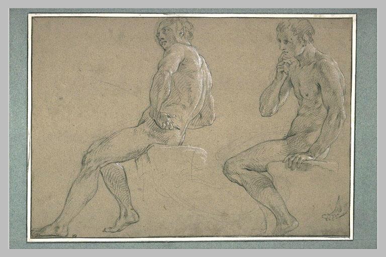 LEMOYNE François : Deux hommes assis sur un bloc de pierre