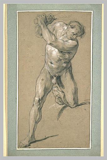 LEMOYNE François : Homme armé d'une massue, un genou sur une pierre