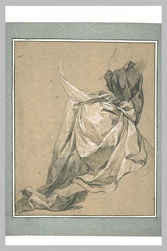 Etude de draperie pour un homme à genoux, tourné à droite