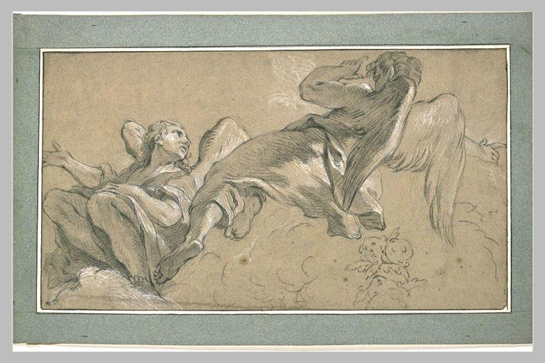 LEMOYNE François : Etude de deux anges assis