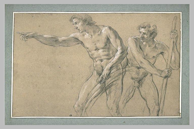 LEMOYNE François : Deux hommes debout regardant avec attention vers la gauche