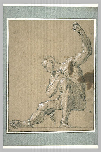LEMOYNE François : Homme nu, assis, un bras levé : Moïse