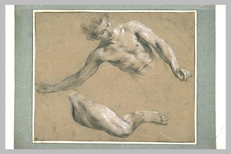 Homme, vu en buste, penché vers la gauche et sa jambe gauche_0
