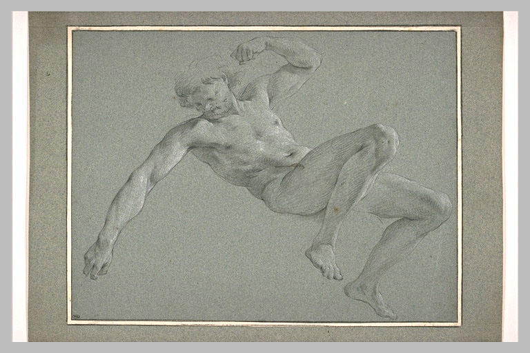 Homme allongé, le bras gauche plié et le droit tendu_0