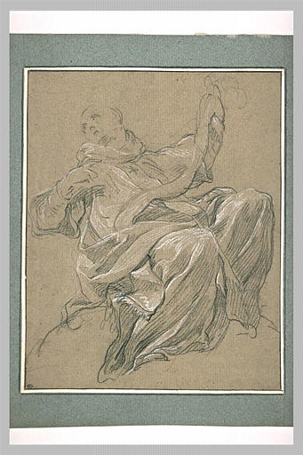 LEMOYNE François : Homme drapé, assis, la tête tournée vers la gauche