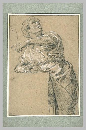 LEMOYNE François : Homme drapé, regardant vers la droite et désignant le côté gauche