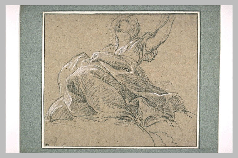 Femme drapée et assise sur des nuages