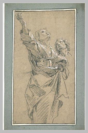 LEMOYNE François : Homme debout, drapé, et tête d'un autre homme