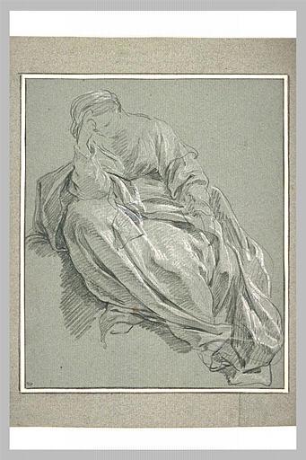 Femme drapée, assise, la tête appuyée sur le bras droit