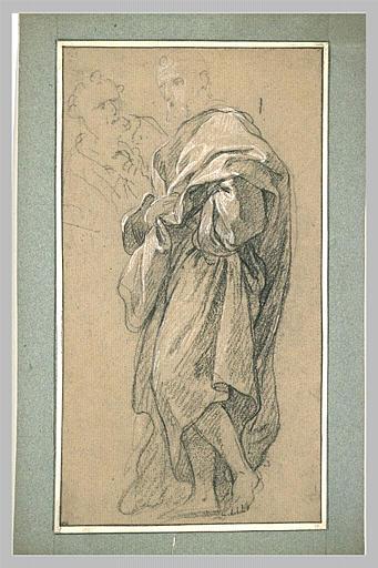 LEMOYNE François : Homme drapé, debout, tourné vers la gauche