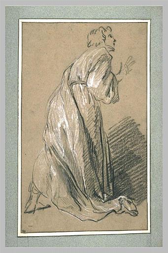Homme debout, vêtu d'une longue robe, vu de profil