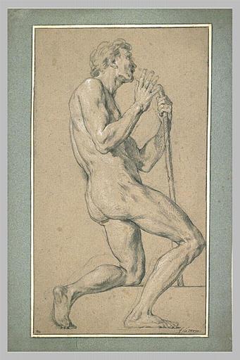 Homme nu, agenouillé, tourné vers la droite_0