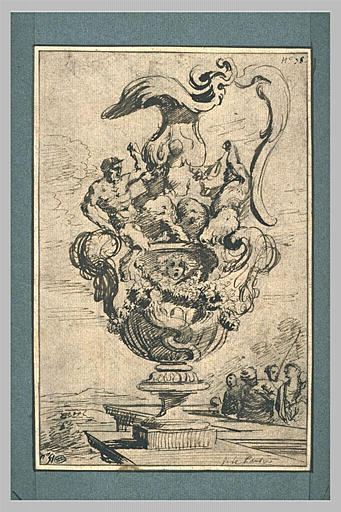 LE PAUTRE Jean (attribué à) : Vase orné de deux figures de satyres, placé sur un piedestal dans un jardin