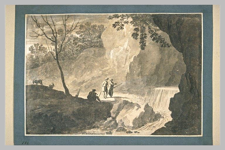 LE PAUTRE Jean (attribué à) : Plusieurs figures au bord d'un torrent, dans un paysage rocheux