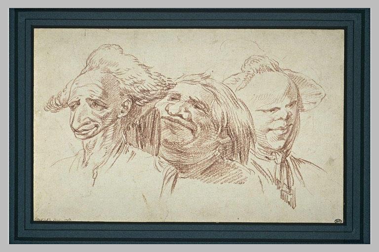 Trois têtes caricaturales