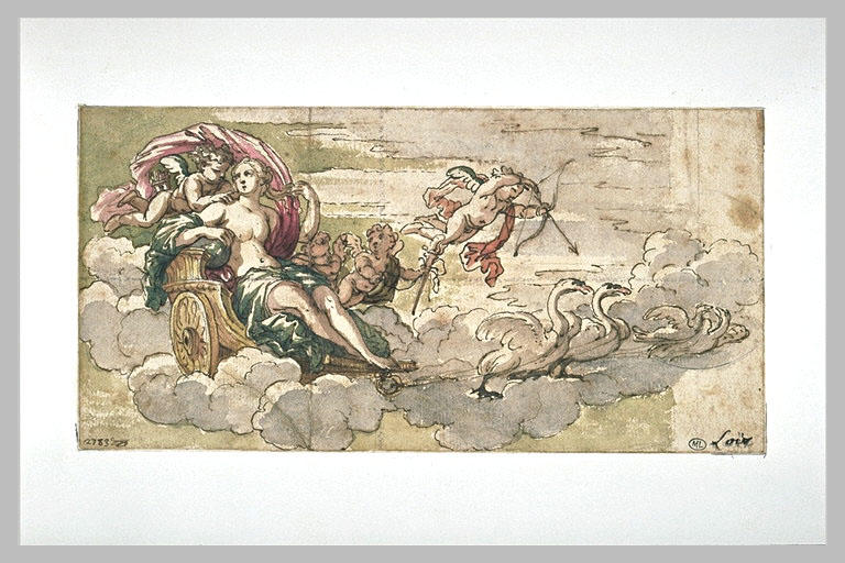 Vénus dans un char trainée par des cygnes et accompagnée d'amours_0