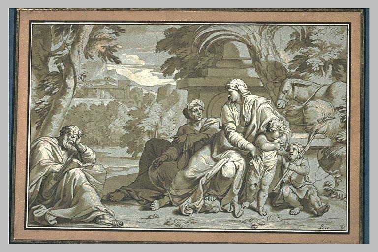 Repos pendant la Fuite en Egypte avec saint Jean et sainte Elisabeth_0