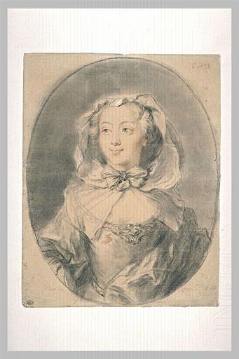 Portrait d'une jeune femme, la tête couverte d'un voile