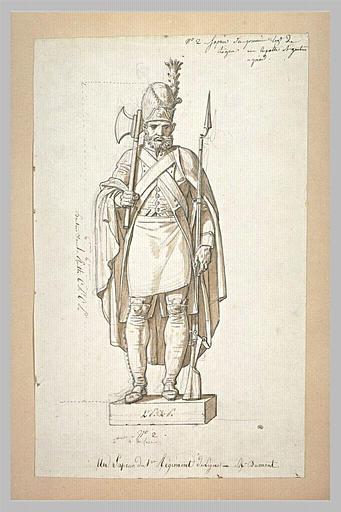 Statue d'un sapeur du premier régiment de ligne, d'après Dumont