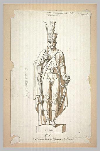 Statue d'un chasseur du premier régiment, d'après Foucou