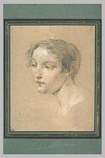 Tête de jeune femme, vue de trois quarts, tournée vers la gauche
