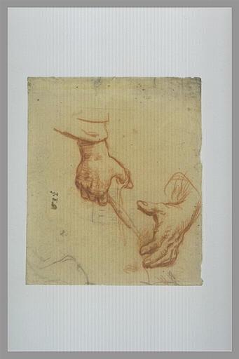 NATOIRE Charles Joseph : Homme nu, agenouillé, portant un vase