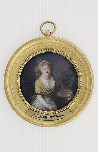 PERIN-SALBREUX Lié Louis : Portrait de Mme Pinson, debout, de face, tenant une palette