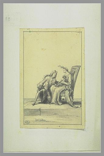 PICART Bernard : Homme à genoux aux pieds d'une femme à qui il exprime sa passion