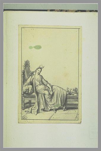 PICART Bernard : Femme en déshabillé sur un lit de repos, un petit chien à ses pieds