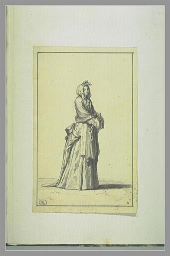 PICART Bernard : Femme tenant son éventail à la main, une écharpe sur la tête,...