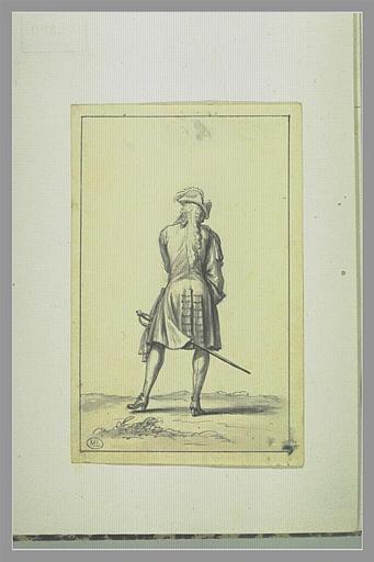 Cavalier vu de dos, portant une épée au côté_0