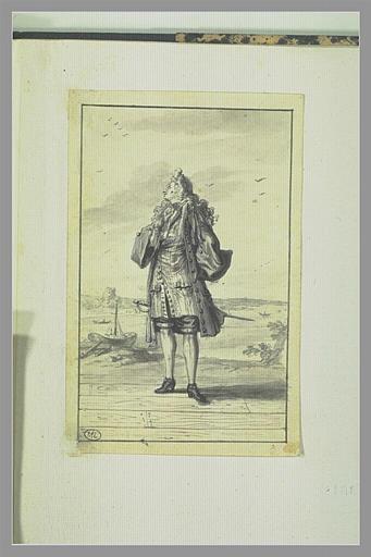 PICART Bernard : Homme regardant en l'air et tenant son chapeau à la main derrière le dos...