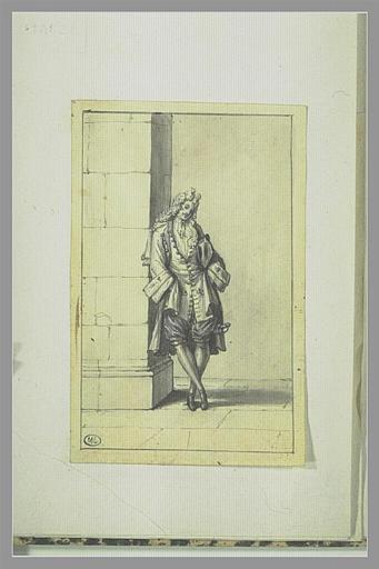 PICART Bernard : Jeune cavalier appuyé contre une muraille