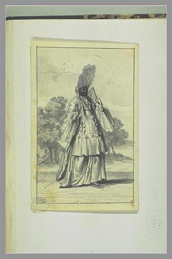 PICART Bernard : Evariste Gherardi dit Arlequin dans le personnage d'Arlequin comtesse de...