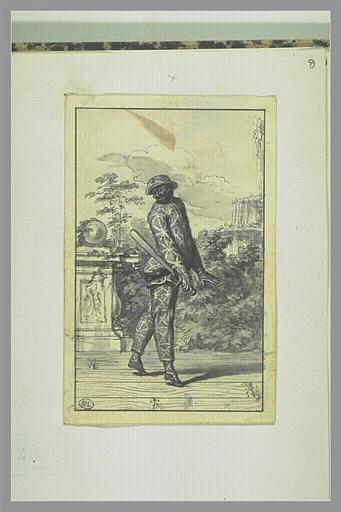 PICART Bernard : Evariste Gherardi dit Arlequin dans un personnage de la Comédie Italienne...
