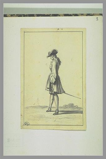 PICART Bernard : Jeune homme vu de profil portant un plumet, une épée au côté