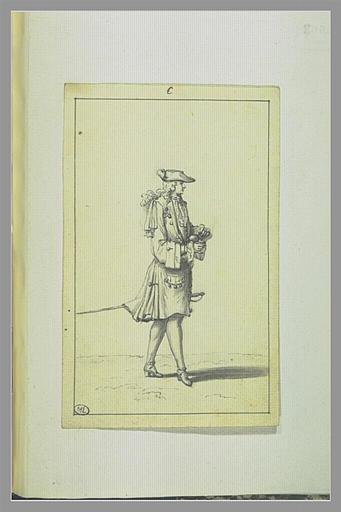 PICART Bernard : Jeune Homme prisant coiffé d'un tricorne