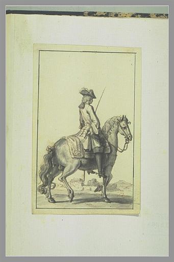 PICART Bernard : Homme à cheval vu de dos