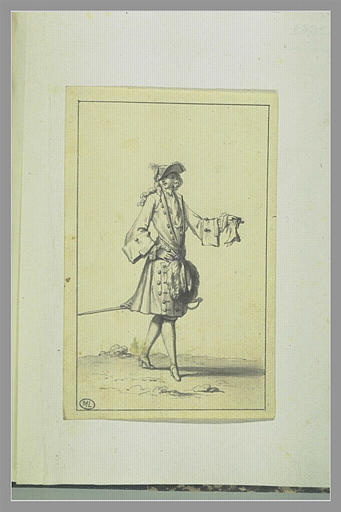 PICART Bernard : Cavalier avec manchon, coiffé d'un tricorne, un gant à la main