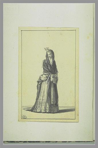 PICART Bernard : Femme ayant les mains dans son manchon, les épaules couvertes...