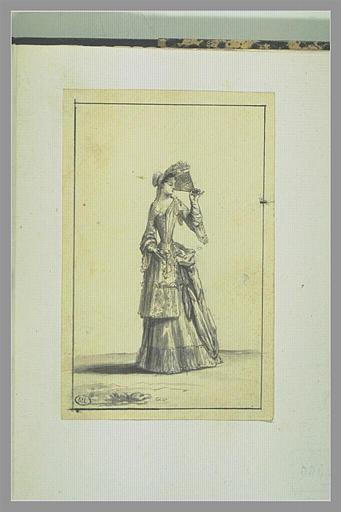 PICART Bernard : Jeune fille se garantissant le visage des ardeurs du soleil avec son...