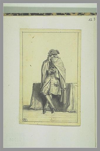 PICART Bernard : Homme en manteau prenant du tabac dans sa main, appuyé à une table juponnée