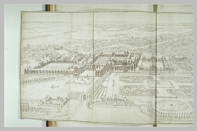 Vue perspective du château et du jardin de Fontainebleau_0