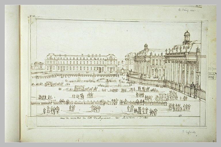 Vue du château de Versailles du côté des logements des secrétaires d'Etat
