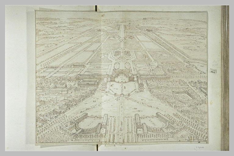 SILVESTRE Israël : Vue perspective de Versailles du côté des écuries du château