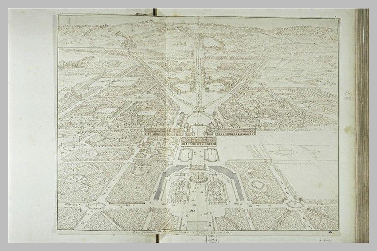 Vue perspective de la ville, du château et des jardins de Versailles