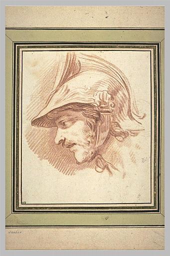 Etude d'une tête de soldat, vue de profil et tournée vers la gauche